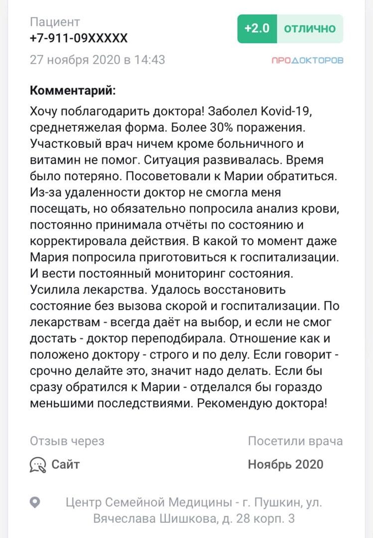 отзывы Грибова Мария Анатольевна